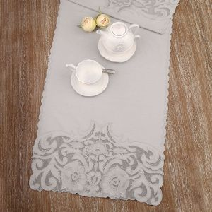 Chemin de table gris Dentelle Blanc Mariclo