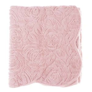 Plaid rose broderies roses 140x170cm Blanc Mariclo