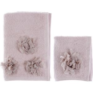 Set serviettes rose collection Dalhia Blanc Mariclo
