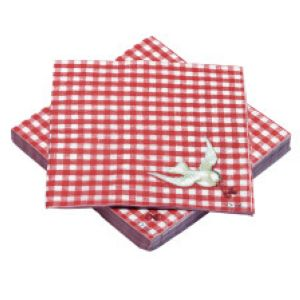 Serviettes de table Vichy rouge